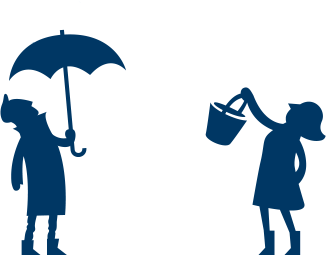 graphic of friends with umbrellas