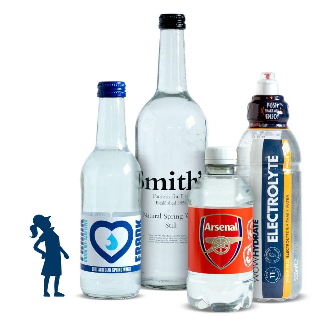 Custom labelled bottles including Arsenal